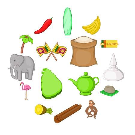 Sri Lanka travel icons set. Cartoon illustration of 16 Sri Lanka travel vector icons for web