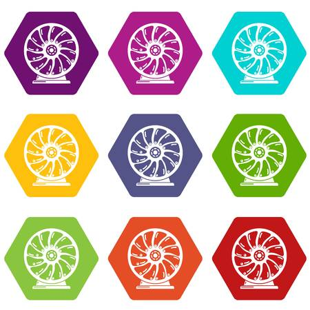 Perpetuum mobile icons 9 set coloful isolated on white for web