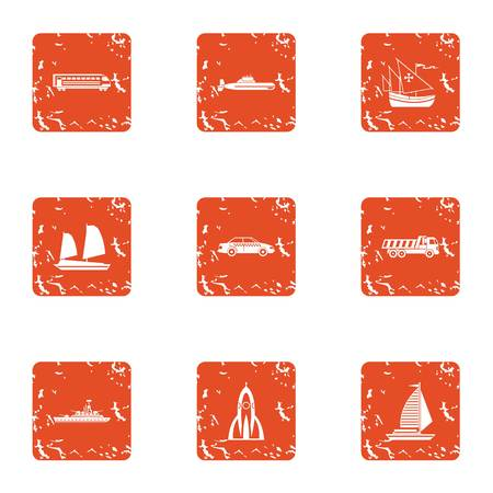 Technical mean icons set. Grunge set of technical mean vector icons for web isolated on white background