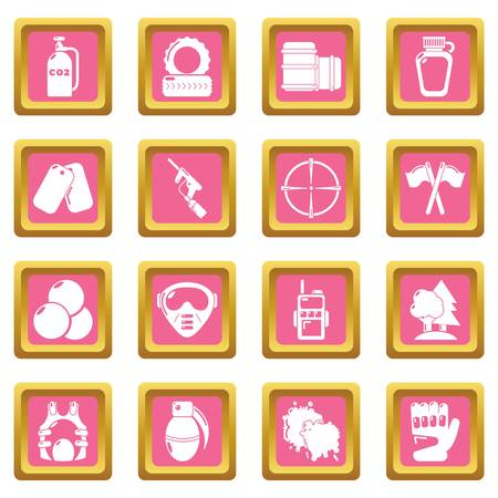 Paintball icons set vector pink square isolated on white background