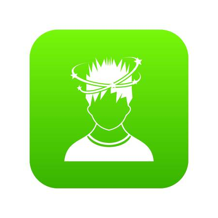 Man with dizziness icon digital green for any design isolated on white vector illustration Ilustrace