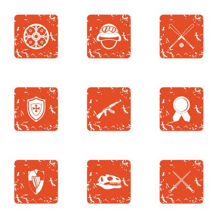 Medieval way icons set. Grunge set of medieval way vector icons for web isolated on white background