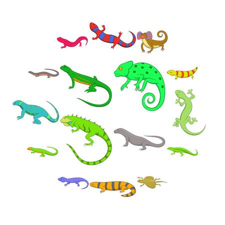 Lizard icons set. Cartoon illustration of 16 lizard vector icons for web  イラスト・ベクター素材