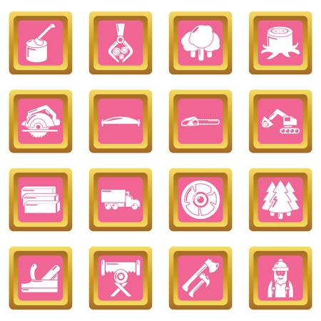 Timber industry icons set on pink squares. Illustration