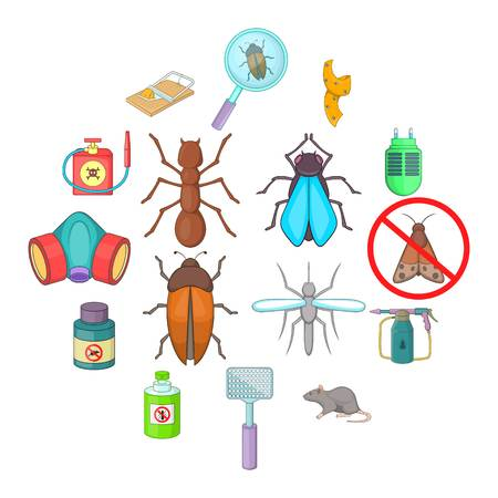 Exterminator icons set. Cartoon illustration of 16 exterminator vector icons for web Çizim