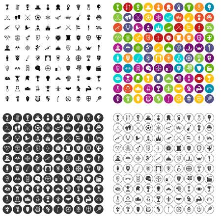 100 trophy and awards icons set vector in 4 variant for any web design isolated on white