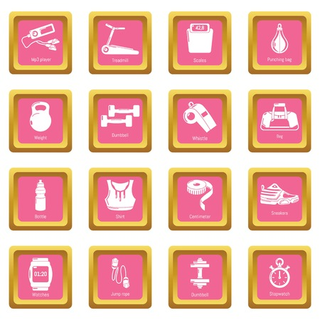 Gym sport icons set vector pink square isolated on white background