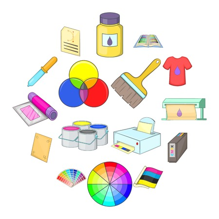 Print process icons set. Cartoon illustration of print process vector icons for web