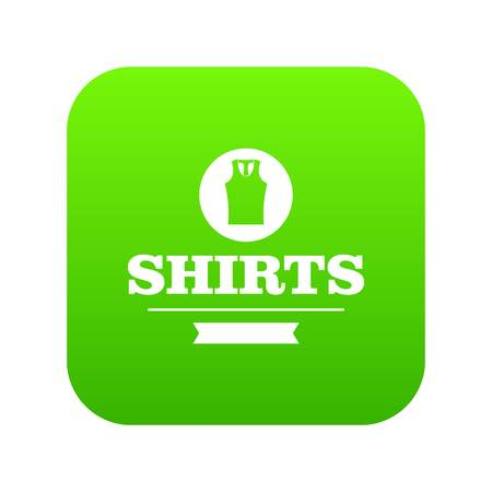 Shirt icon green vector isolated on white background
