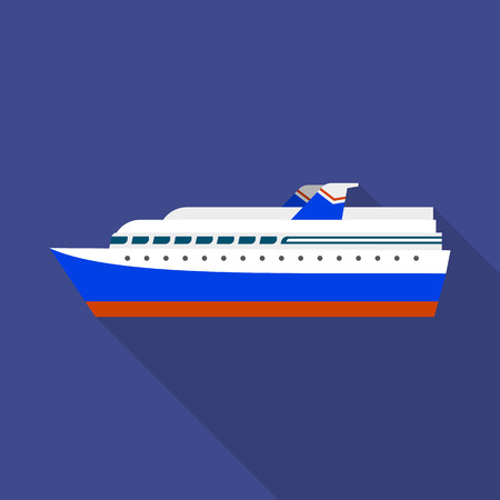 Cruise liner ship icon. Flat illustration of cruise liner ship vector icon for web design