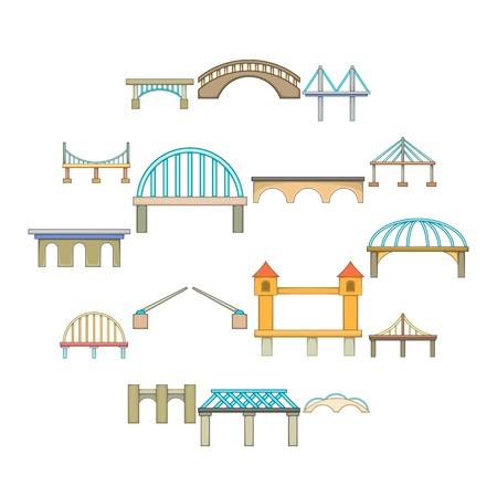 Bridge construction icons set. Cartoon illustration of bridge construction vector icons for web