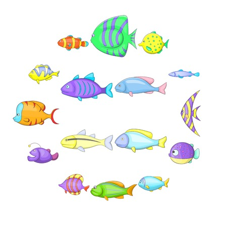 Cartoon illustration of  different fish vector icons for web
