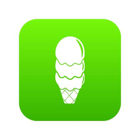 Three balls ice cream icon green vector isolated on white background