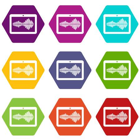 Tablet icons set coloful isolated on white for web