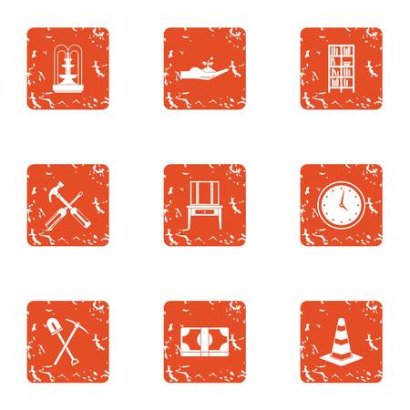 Private house icons set. Grunge set of private house vector icons for web isolated on white background