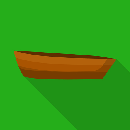 Wood boat icon. Flat illustration of wood boat vector icon for web design