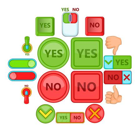 Yes no icons set. Cartoon illustration of yes no vector icons for web