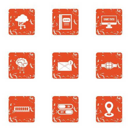 Technical school icons set. Grunge set of 9 technical school vector icons for web isolated on white background.