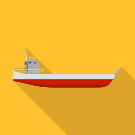 Long cargo ship icon. Flat illustration of long cargo ship vector icon for web design.