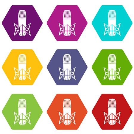 Studio microphone icons 9 set coloful isolated on white for web Illusztráció