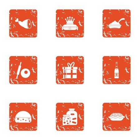 Medieval dinner icons set. Grunge set of 9 medieval dinner vector icons for web isolated on white background. Illustration