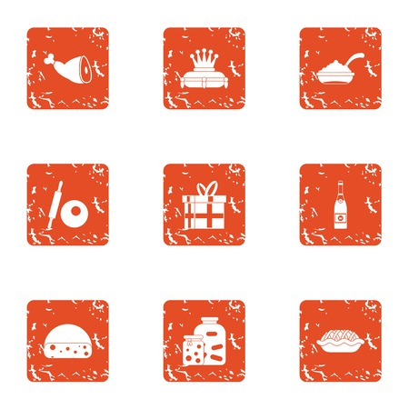 Medieval dinner icons set. Grunge set of 9 medieval dinner vector icons for web isolated on white background. Illustration