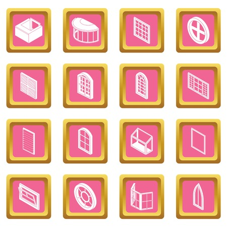 Window forms icons set vector pink square isolated on white background.