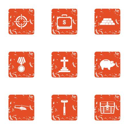 Cult icons set. Grunge set of 9 cult vector icons for web isolated on white background.