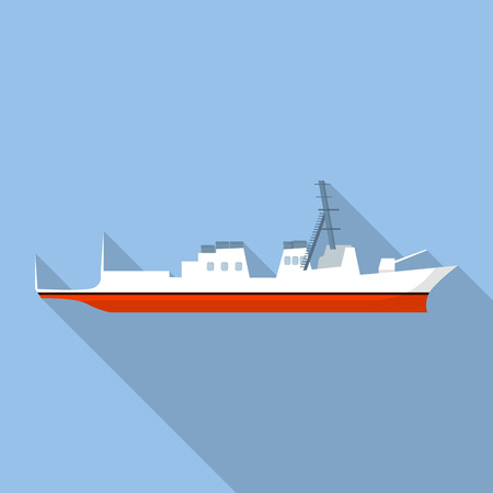 Military ship icon. Flat illustration of military ship vector icon for web design