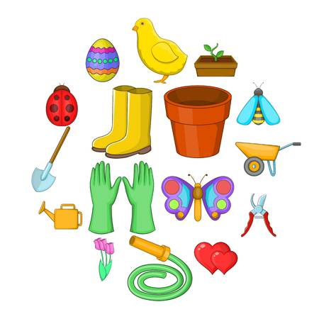 Spring icons set. Cartoon illustration of 16 spring vector icons for web Vetores