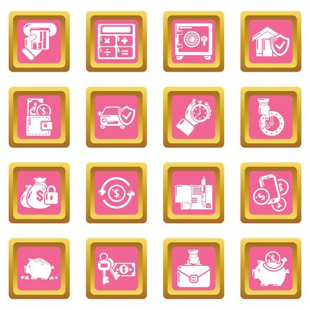 Credit icons set vector pink square isolated on white background