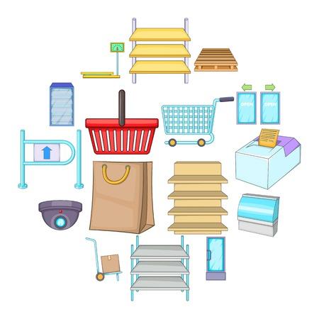 Supermarket icons set. Cartoon illustration of 16 supermarket vector icons for web
