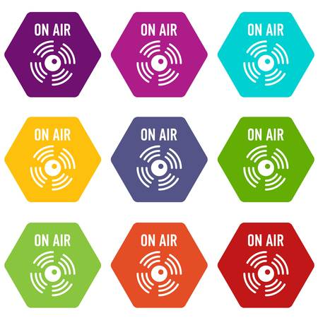On air radio icons 9 set coloful isolated on white for web Illustration