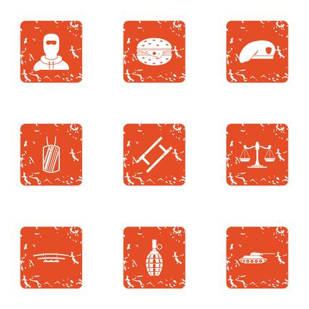 Risk icons set. Grunge set of 9 risk vector icons for web isolated on white background