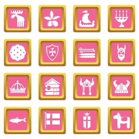 Sweden travel icons set vector pink square isolated on white background