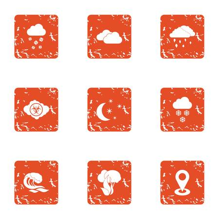 Climate control icons set. Grunge set of 9 climate control vector icons for web isolated on white background