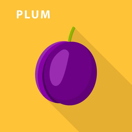 Plum icon. Flat illustration of plum vector icon for web design.