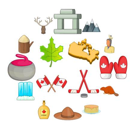 Canada icons set. Cartoon illustration of 16 Canada travel items vector icons for web.