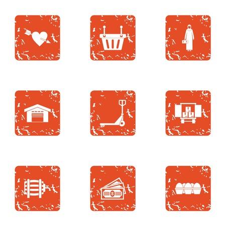 Large store icons set. Grunge set of 9 large store vector icons for web isolated on white background.