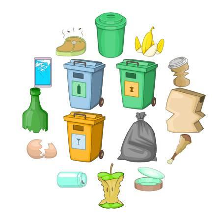Garbage items icons set. Cartoon illustration of 16 garbage items vector icons for web. Illustration
