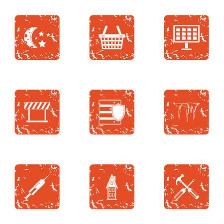 Township icons set. Grunge set of 9 township vector icons for web isolated on white background  イラスト・ベクター素材