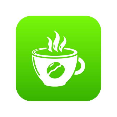 Cup coffee icon green vector isolated on white background
