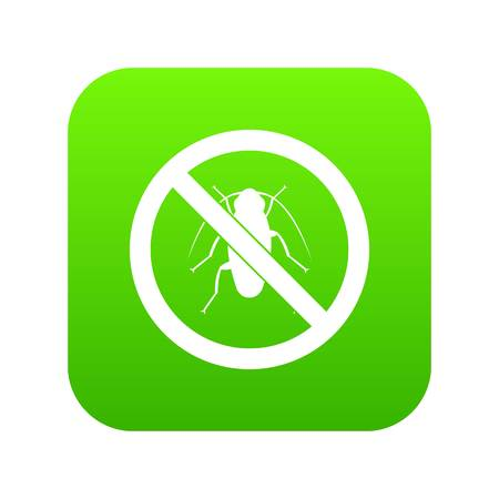 No cockroach sign icon digital green for any design isolated on white vector illustration
