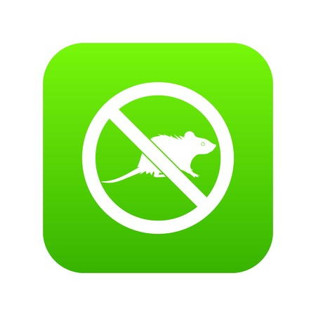 No rats sign icon digital green for any design isolated on white vector illustration Illustration