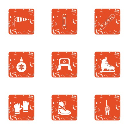 Cold climate icons set. Grunge set of 9 cold climate vector icons for web isolated on white background
