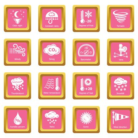 Weather icons set vector pink square isolated on white background