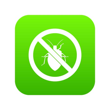 No bug sign icon digital green for any design isolated on white vector illustration.