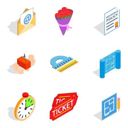 Work sample icons set. Isometric set of 9 work sample vector icons for web isolated on white background Illustration