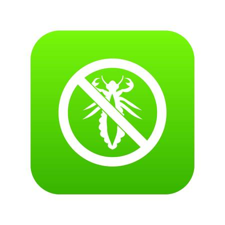 No louse sign icon digital green for any design isolated on white vector illustration