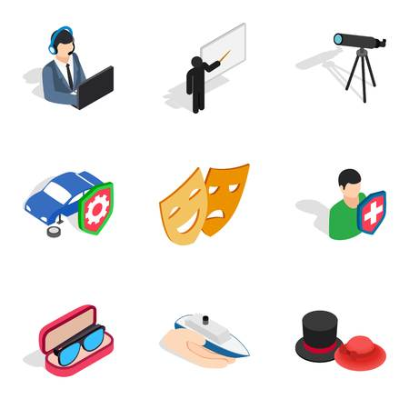 Experimental work icons set. Isometric set of 9 experimental work vector icons for web isolated on white background.